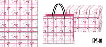 Nahtloses geometrisches Muster mit Rosen und Verpackungsmodell lizenzfreie abbildung