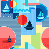 Nahtloses geometrisches Muster mit Schattenbild des Schiffs, des Kreises, des Quadrats, des Dreiecks, der Streifen und anderer El Lizenzfreie Stockfotos