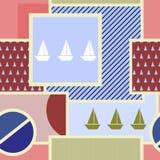 Nahtloses geometrisches Muster mit Schattenbild des Schiffs, des Kreises, des Quadrats, des Dreiecks, der Streifen und anderer El Stockfotografie