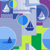 Nahtloses geometrisches Muster mit Schattenbild des Schiffs, des Kreises, des Quadrats, des Dreiecks, der Streifen und anderer El Stockfotos