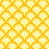 Nahtloses geometrisches Muster mit Wellen im Retrostil. Stock Abbildung