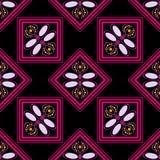 Nahtloses geometrisches Muster, rosa Diamanten auf einem schwarzen Hintergrund Stockfotografie