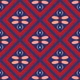 Nahtloses geometrisches Muster, rote Diamanten auf einem blauen Hintergrund Stockbild
