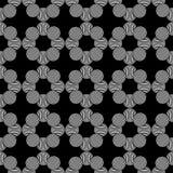 Nahtloses geometrisches Muster von Kreisen auf einem schwarzen Hintergrund Stockfotografie
