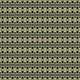 Nahtloses geometrisches Muster von schwarzen Blumen und von Polygonformen mit gelben Anschlaglinien Flache Designvektorillustrati vektor abbildung