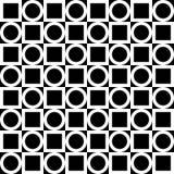 Nahtloses geometrisches Muster Weiße Kreise und Quadrate auf einem schwarzen Hintergrund Vektor Stockfotos