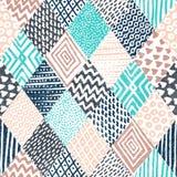 Nahtloses geometrisches Muster Weinleseverzierung eigenhändig gezeichnet blau stock abbildung