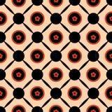 Nahtloses geometrisches Mustervektorzusammenfassungs-Hintergrunddesign von Kreisen mit orange Frühlingssommer blüht in ihnen ansc Lizenzfreie Stockfotos