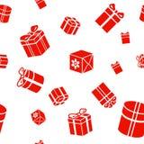 Nahtloses Geschenkmuster, rote Geschenkboxen auf Weiß Stockfoto