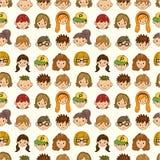Nahtloses Gesichtsmuster der jungen Leute Lizenzfreies Stockfoto