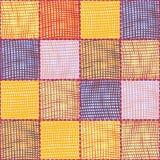 Nahtloses gestepptes Muster mit Schmutz streifte Webart quadratische elemens für Plaid, Teppich, Tapisserie lizenzfreie abbildung