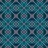 Nahtloses gestricktes Muster der skandinavischen Art Gestrickte Wollebeschaffenheit Auch im corel abgehobenen Betrag Stockfotos