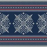 Nahtloses gestricktes Muster der skandinavischen Art mit s Lizenzfreie Stockfotografie