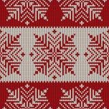 Nahtloses gestricktes Muster der skandinavischen Art mit Schneeflocken ENV verfügbar Lizenzfreies Stockfoto