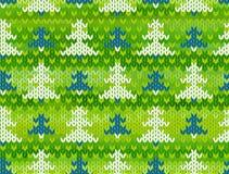 Nahtloses gestricktes Muster des Vektors mit Bäumen Lizenzfreies Stockfoto