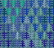 Nahtloses gestricktes Muster mit Bäumen Stockfotografie