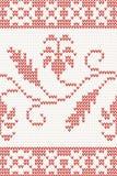 Nahtloses gestricktes Muster mit roter Blume Lizenzfreies Stockbild