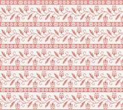 Nahtloses gestricktes Muster mit roter Blume Lizenzfreie Stockfotos