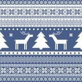 Nahtloses gestricktes Weihnachtsmuster Stockfotografie