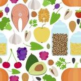 Nahtloses gesundes Lebensmittelmuster Stockbilder