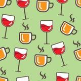 Nahtloses Getränk-Muster, einfach und bunt stockbild