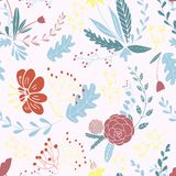 Nahtloses gezeichnetes mit BlumenDesign des Musters in der Hand lizenzfreie abbildung