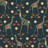 Nahtloses Giraffenmuster gemacht von den Blumen, Blätter in der böhmischen Art Tierdruck Stockbild