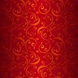 Nahtloses Goldblumenmuster auf Rot. Lizenzfreie Stockfotos