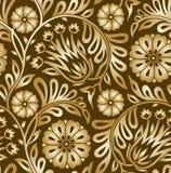 Nahtloses goldenes Blumenmusterdesign Stockbild