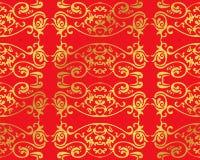 Nahtloses goldenes chinesisches Hintergrund-Kurven-Spiralen-Feder-Kreuz Stockfoto