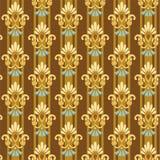 Nahtloses goldenes mit Blumenmuster auf gestreiftem blauem Hintergrund Stockbilder