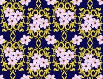 Nahtloses Goldmuster mit Cherry Blossom Lizenzfreies Stockfoto