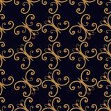 Nahtloses Goldspiralen-Schmetterlingsmuster Stockbilder