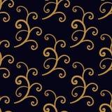 Nahtloses Goldspiralen-Zusammenfassungsmuster Lizenzfreie Stockfotos