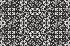 Nahtloses gotisches Blumenschwarzweiss-muster Stockfoto