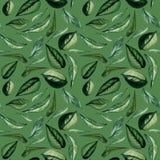 Nahtloses Grün des Aquarells kopieren mit Blättern Lizenzfreie Stockfotos