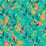 Nahtloses grünes Frühlingsmuster mit Blättern Stockfotografie