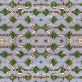Nahtloses grünes Gras in den Löchern der Pflasterung von Blöcken mit Samen am Herbst Hintergrund, Muster, Beschaffenheit Stockfoto