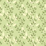 Nahtloses grünes Muster mit olivgrünen Blättern Stockfotografie