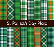 16 nahtloses grünes St Patrick ` s Tagesplaid Lizenzfreie Stockbilder