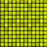 Nahtloses grünes und gelbes Muster mit der verflechtenden Struktur, die Korb ähnelt Lizenzfreie Stockfotografie