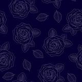 Nahtloses grafisches Konturnrosen-Blaumuster Stockfoto