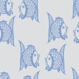 Nahtloses grafisches Muster mit Fischen Stockbilder