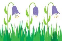 Nahtloses Gras und Blumen. Stockfoto