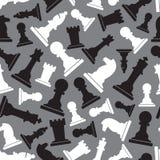 Nahtloses graues Muster der Schwarzweiss-Schachfiguren Lizenzfreie Stockfotos
