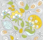 Nahtloses graues Muster, gelbe Blumen, weiße Beeren Stockfoto