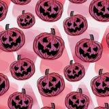 Nahtloses Halloween-Muster mit Kürbisaquarellart Modische Frauen der Handgezogenen Weinlese arbeiten einzigartigen Kunstartvektor stock abbildung