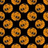 Nahtloses Halloween-Muster mit Loch von Spinnen Stockfoto