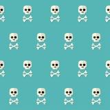 Nahtloses Halloween-Schädel-Muster mit den Knochen über Blau Lizenzfreies Stockbild