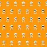 Nahtloses Halloween-Schädel-Muster mit den Knochen Stockfoto